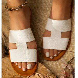 White Croc Embossed Slip On Sandals